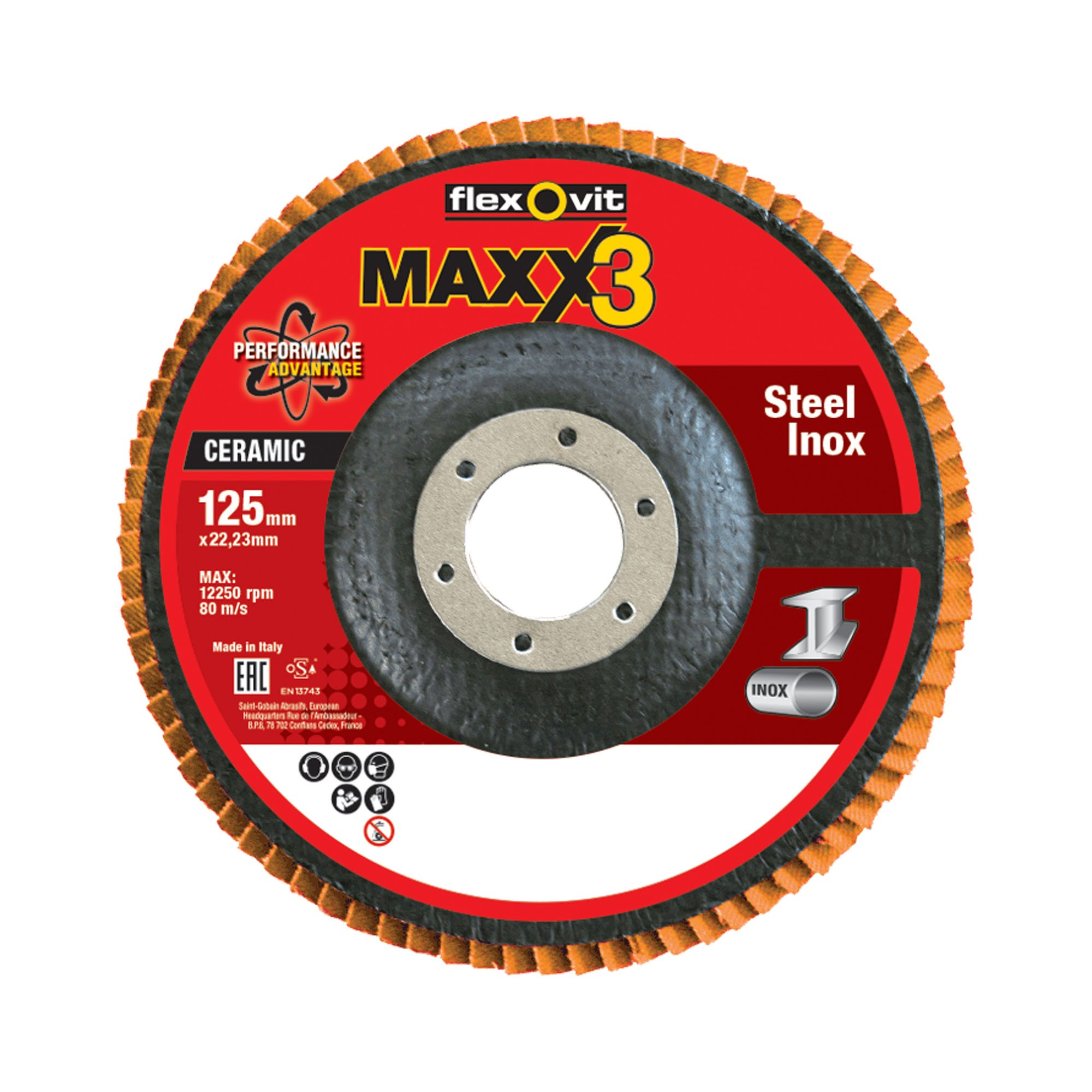 Flexovit Maxx3 125mm flap discs 125mm_74370