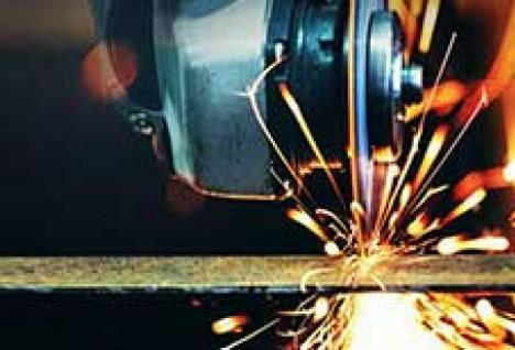 Right angle grinder cutting